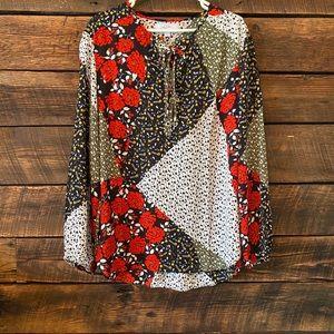 Libby Edelman floral lace up blouse